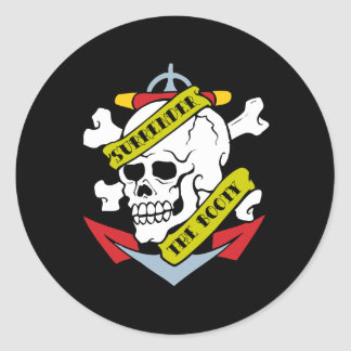 Surrender the Booty Skull Classic Round Sticker
