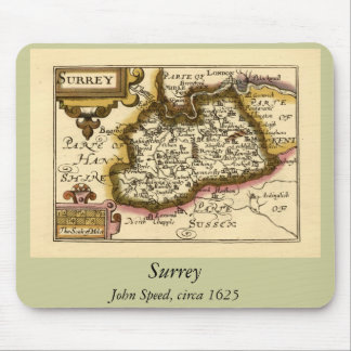 Surrey County Map, England Mouse Pad