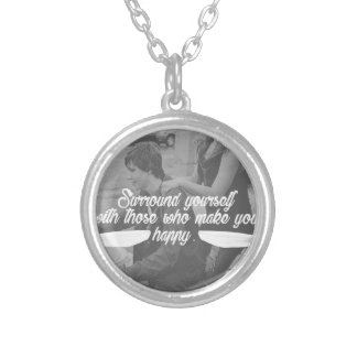 Surround Yourself Be Happy Silver Plated Necklace