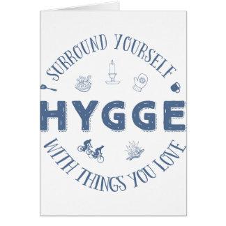 Surround Yourself w. Hygge (Dark Blue text) Card
