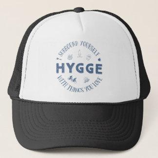 Surround Yourself w. Hygge (Dark Blue text) Trucker Hat
