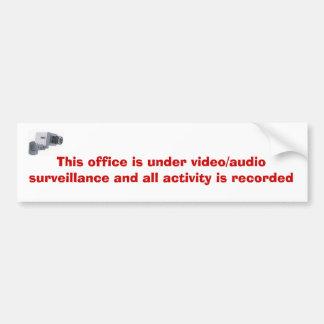 surveillance-video_1959_1809956, ce bureau est… autocollant de voiture