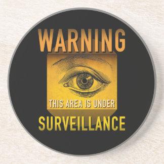 Surveillance Warning Big Brother Atomic Age Grunge Coaster
