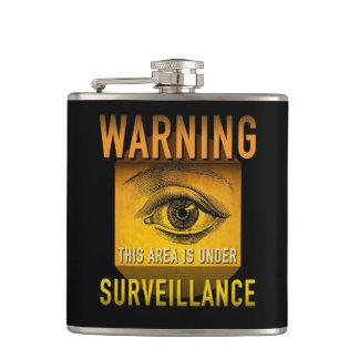 Surveillance Warning Big Brother Atomic Age Grunge Hip Flask