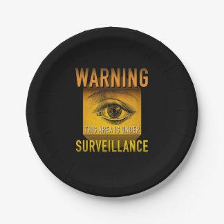Surveillance Warning Big Brother Atomic Age Grunge Paper Plate