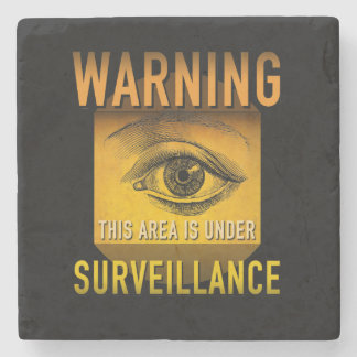 Surveillance Warning Big Brother Atomic Age Grunge Stone Coaster