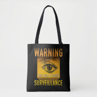 Surveillance Warning Big Brother Atomic Age Grunge Tote Bag