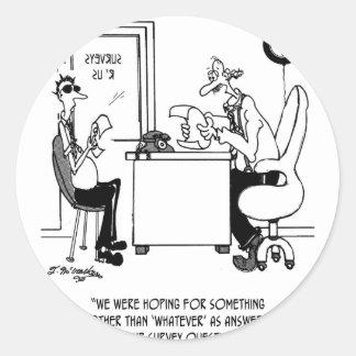 Survey Cartoon 7990 Classic Round Sticker