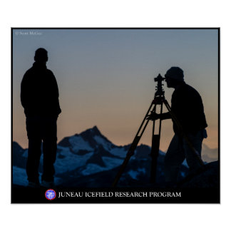Surveyors at Dusk on the Juneau Icefield Poster