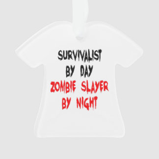 Survivalist Zombie Joke Ornament