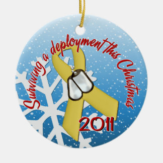 Surviving Deployment 2011 Yellow Ribbon Ceramic Ornament