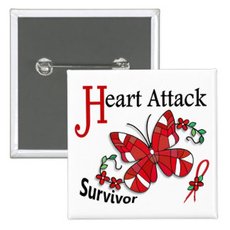 Survivor 6 Heart Attack 2 Inch Square Button