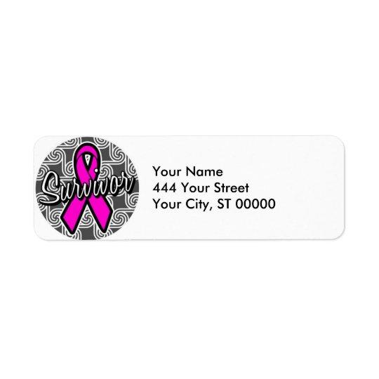 survivor breast cancer pink ribbon return address label