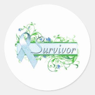 Survivor Floral Light Blue Round Sticker
