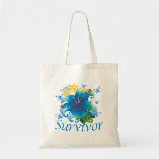 Survivor flower blue budget tote bag