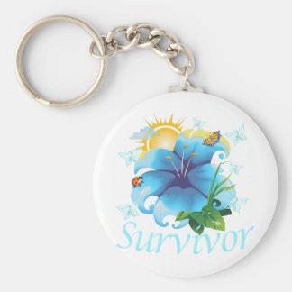 Survivor flower light blue basic round button keychain