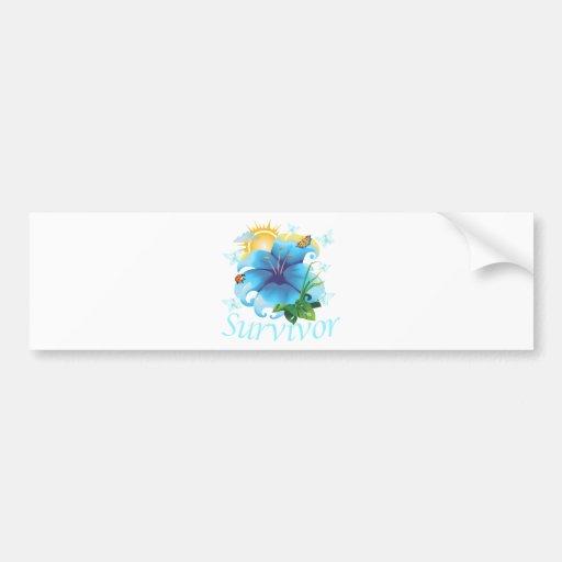 Survivor flower light blue bumper sticker