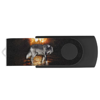 """Survivor"" Grey Wolf And Forest Fire USB Flash Drive"