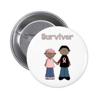 Survivor Pink Ribbon Cartoons 2 Inch Round Button