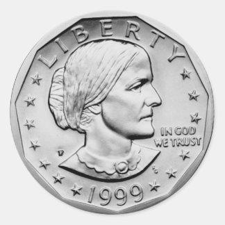 Susan B Anthony Dollar Classic Round Sticker