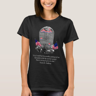 """Susan B. Anthony Headstone with """"I Voted"""" Stickers T-Shirt"""