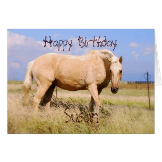 Susan Happy Birthday Palomino Horse Card