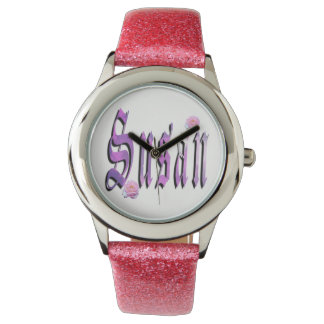 Susan, Name, Logo,  Girls Pink Glitter Watch. Watch