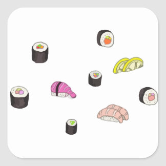 Sushi and Sashimi Square Sticker