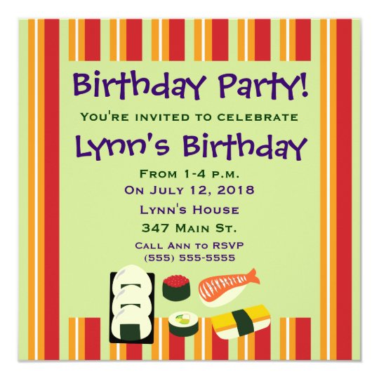 Sushi Birthday Party Invitations