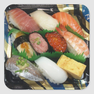 Sushi Box  Japanese Food Square Sticker