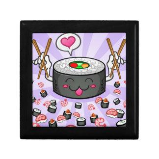 Sushi Cartoon Character Eating Lots of Shrimp Trinket Boxes