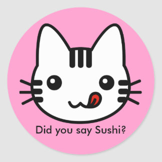 Sushi Cat Classic Round Sticker