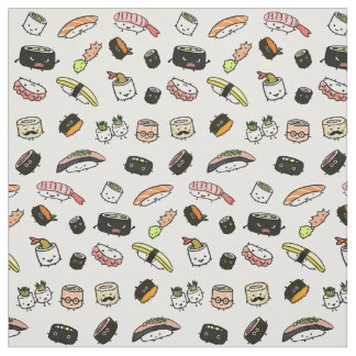 Sushi Characters Pattern Fabric