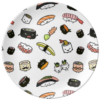 Sushi Characters Pattern Plate