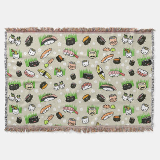 Sushi Characters Pattern Throw Blanket