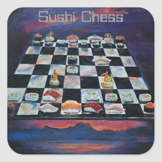 Sushi Chess Square Sticker
