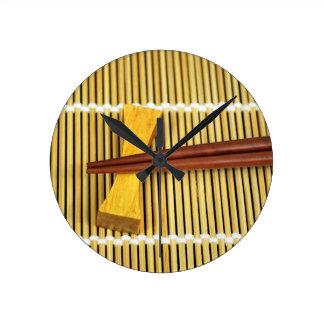 Sushi Chopsticks Sensei Masters Wood Bamboo Round Clock