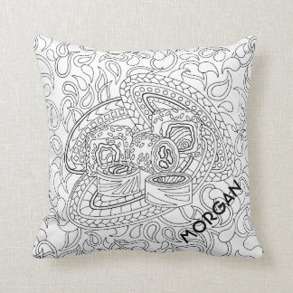Sushi CL06 Adult Colouring Add A Name Reversible Throw Pillow