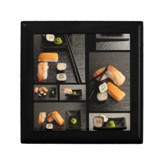 Sushi collection on black background trinket boxes