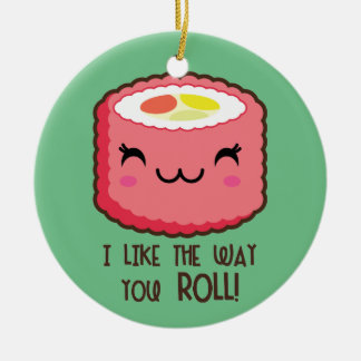 Sushi Emoji Roll Ceramic Ornament