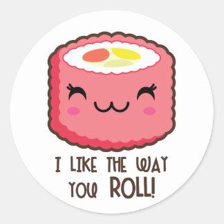 Sushi Emoji Roll Classic Round Sticker