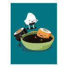 Sushi enjoy bath time funny postcard