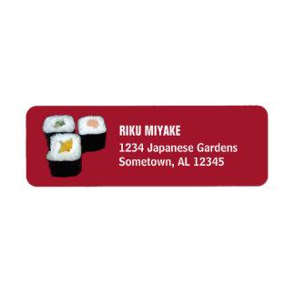 Sushi | Maki Rolls on Red Return Address Labels Return Address Label