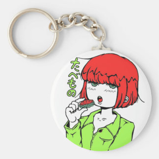 sushi manga pop girl basic round button keychain
