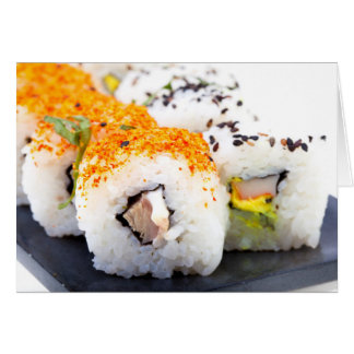 Sushi on a plate card