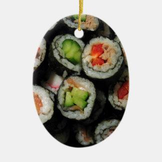 Sushi Ceramic Oval Ornament