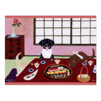 Sushi Party Labradors Postcard