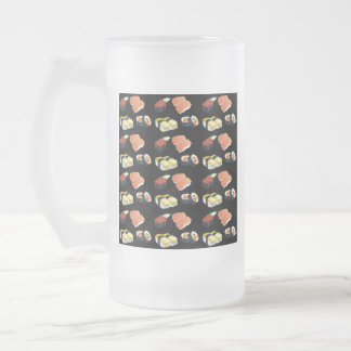 Sushi pattern frosted glass beer mug
