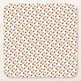 Sushi pattern square paper coaster
