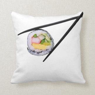 Sushi Roll & Chopsticks - Customized Template Throw Pillow